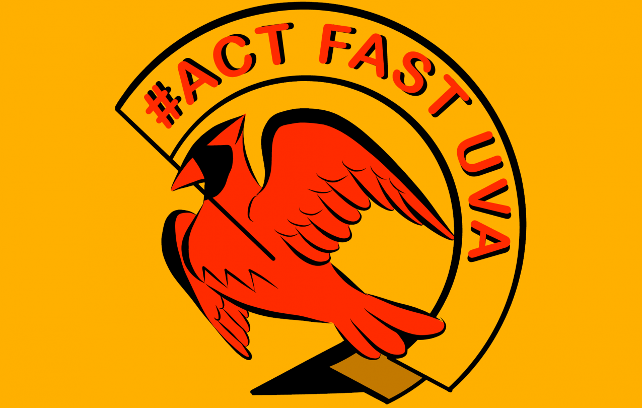 "ID: #ActFastUVA logo. A red cardinal holds a yellow banner in its beak reading ""#Act Fast UVA"" in red, on a yellow background"
