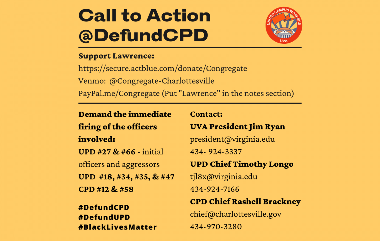 Image alt text: Action call in support of Defund CPD's demands. Demands immediate firing of officers involved. Call Jim Ryan, Tim Longo, and Rashell Brackney. Links to support Lawrence (in the statement). text on yellow.