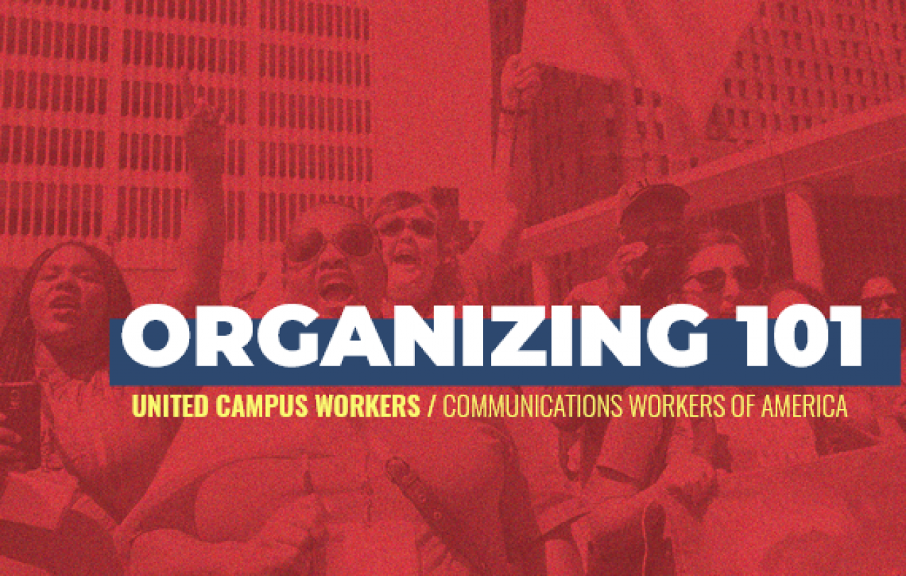 "ID: White text ""Organizing 101"", yellow subtitle text ""United Campus Workers / Communications Workers of America"". Red background photo of CWA members protesting in front of highrise buildings and sky"