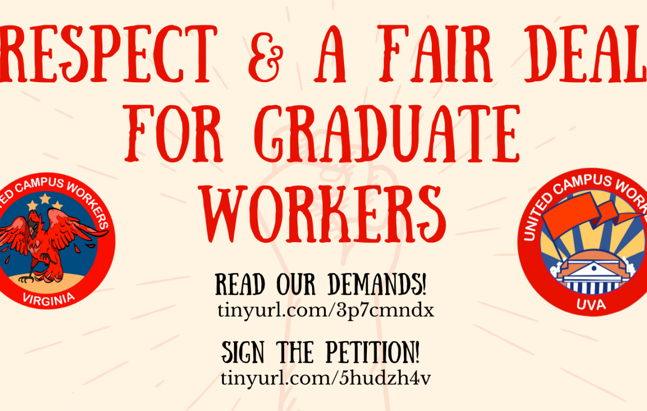 """red text on off white background says """"respect and a fair deal for grad workers"""". there are links to read and sign the petition"""