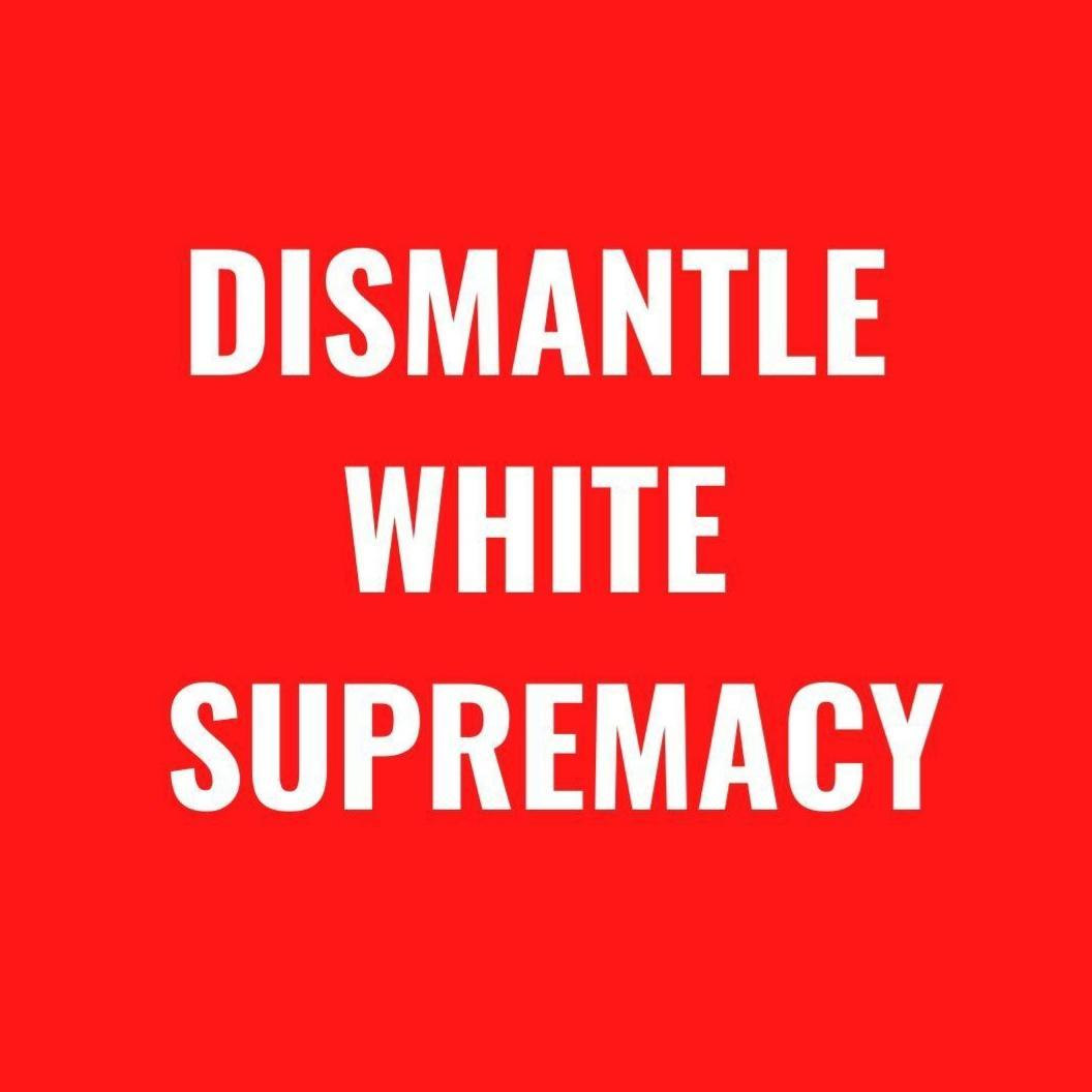 """image id: rectanglular image. white bold text on red background. text says """"dismantle white supremacy"""""""