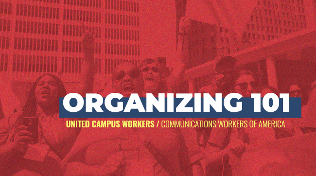 """ID: White text """"Organizing 101"""", yellow subtitle text """"United Campus Workers / Communications Workers of America"""". Red background photo of CWA members protesting in front of highrise buildings and sky"""