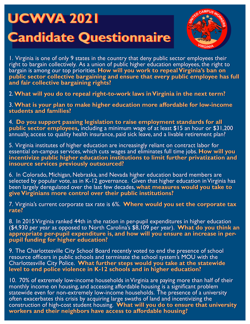 Cropped photo: yellow text on blue background: UCWVA 2021 Candidate Questionnaire