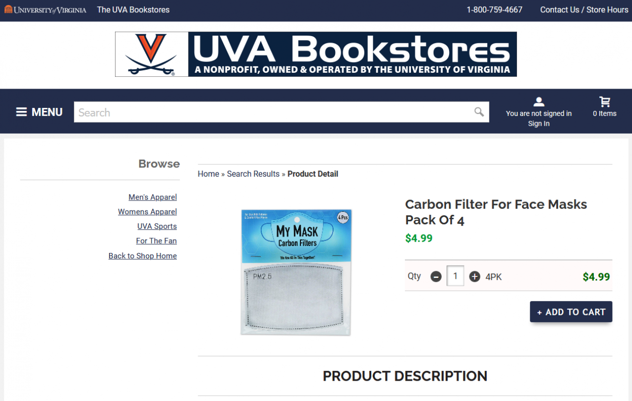 Screenshot of UVA Bookstore webpage selling Carbon filter 4-packs for $4.99