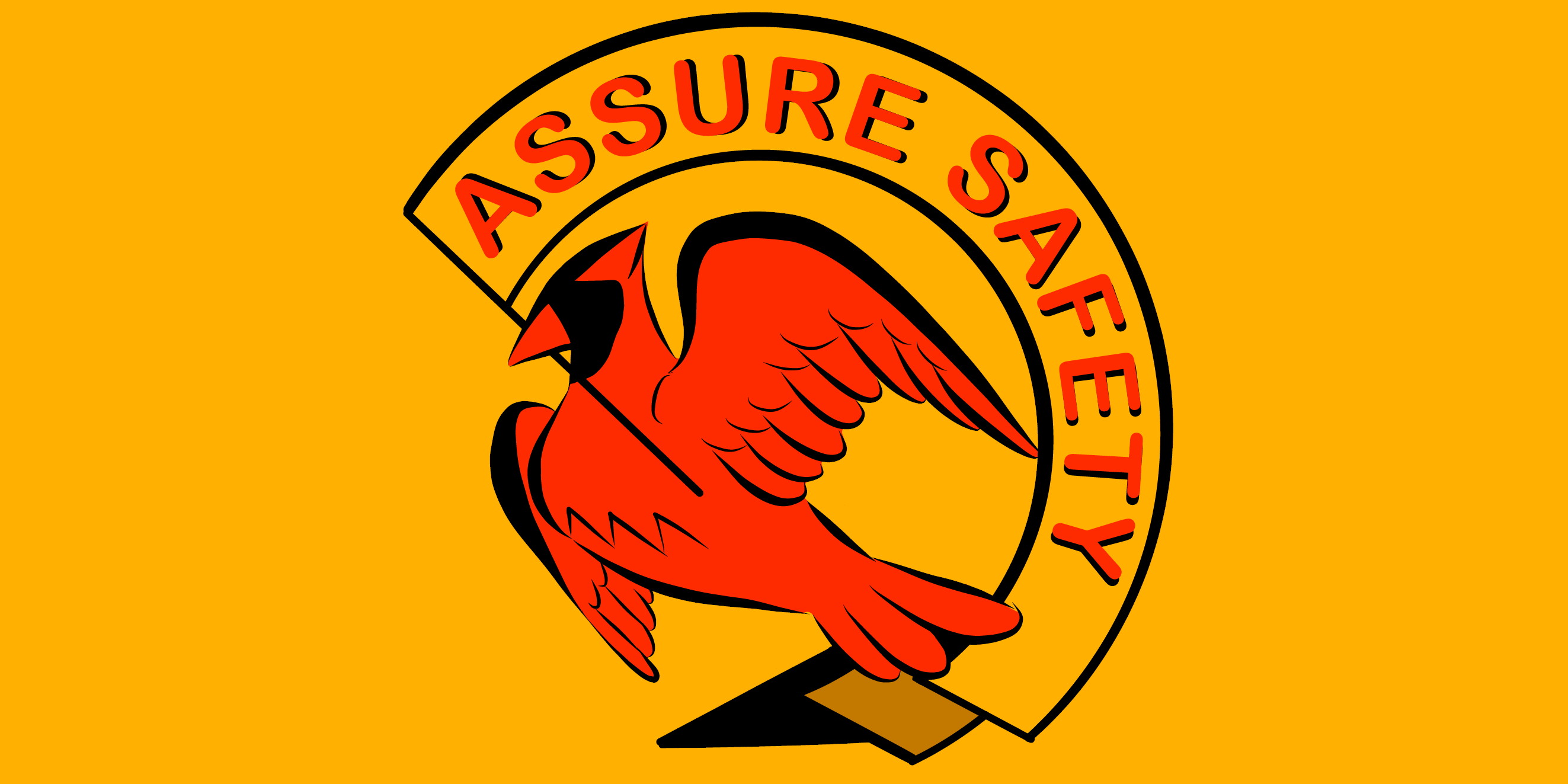 "ID: #AssureSafetyUVA logo. A red cardinal holds a yellow banner in its beak reading ""Assure Safety"" in red, on a yellow background"