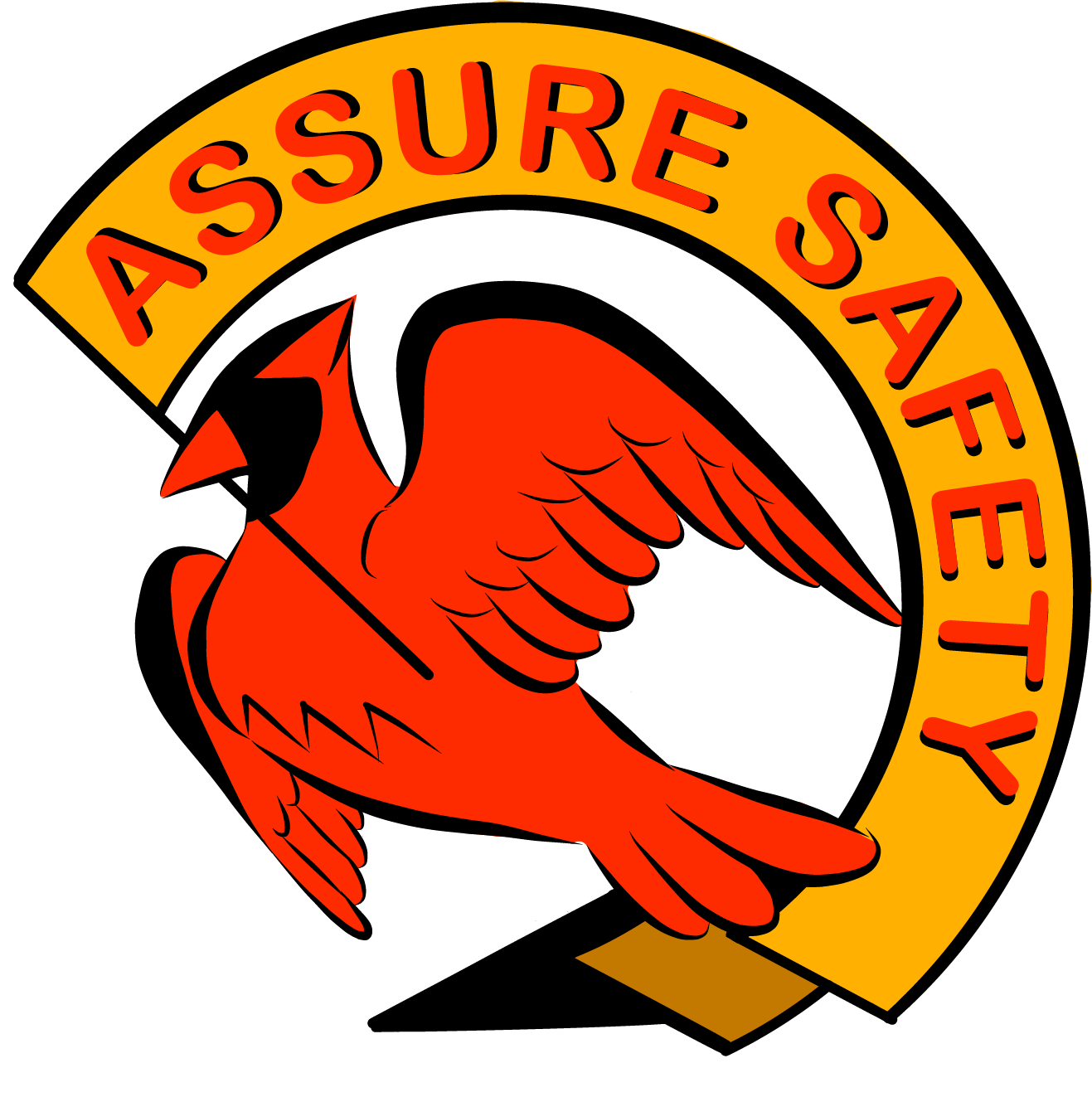 "ID: #AssureSafetyUVA logo. A red cardinal holds a yellow banner in its beak reading ""Assure Safety"" in red, on a white background"