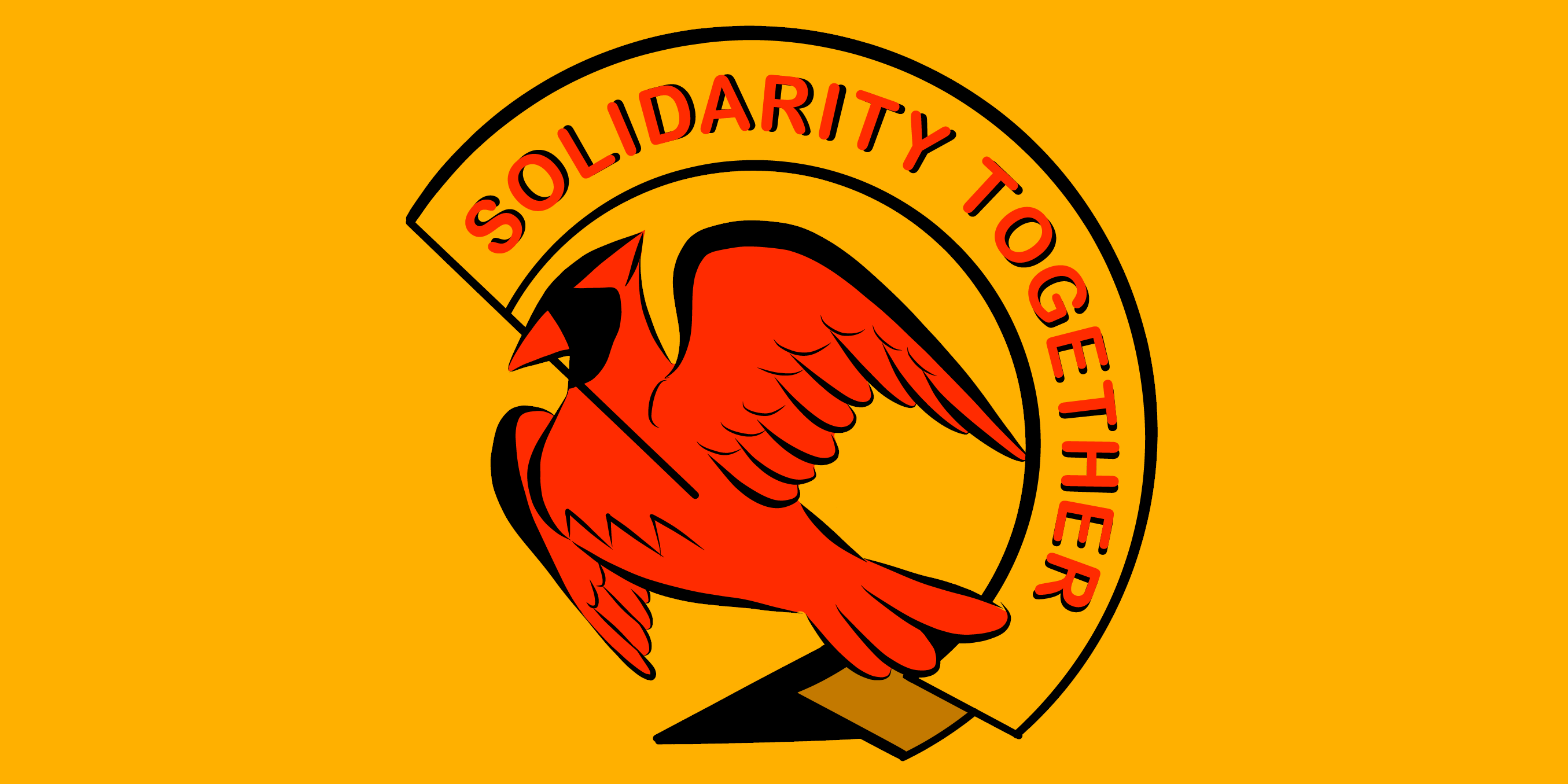 "ID: #SolidarityTogetherUVA logo. A red cardinal holds a yellow banner in its beak reading ""Solidarity Together"" in red, on a yellow background"