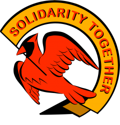 "ID: ##SolidarityTogetherUVA logo. A red cardinal holds a yellow banner in its beak reading ""Solidarity Together"" in red, on a white background"