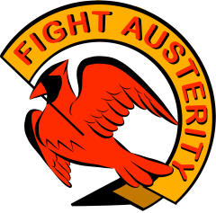 "ID: #FightAusterityUVA logo. A red cardinal holds a yellow banner in its beak reading ""Fight Austerity"" in red, on a white background"